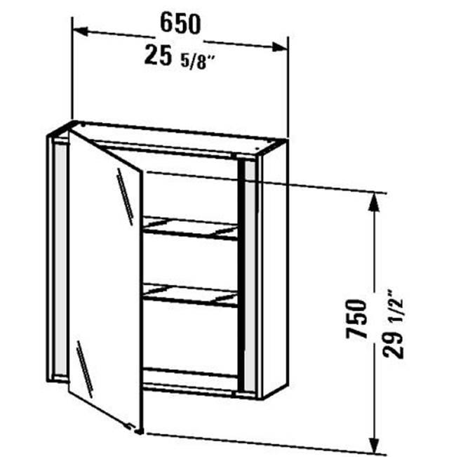 Duravit   KT7530L1818   KT Mirror Cabinet 25 5/8u0027u0027x29 1/2u0027u0027   White Matt