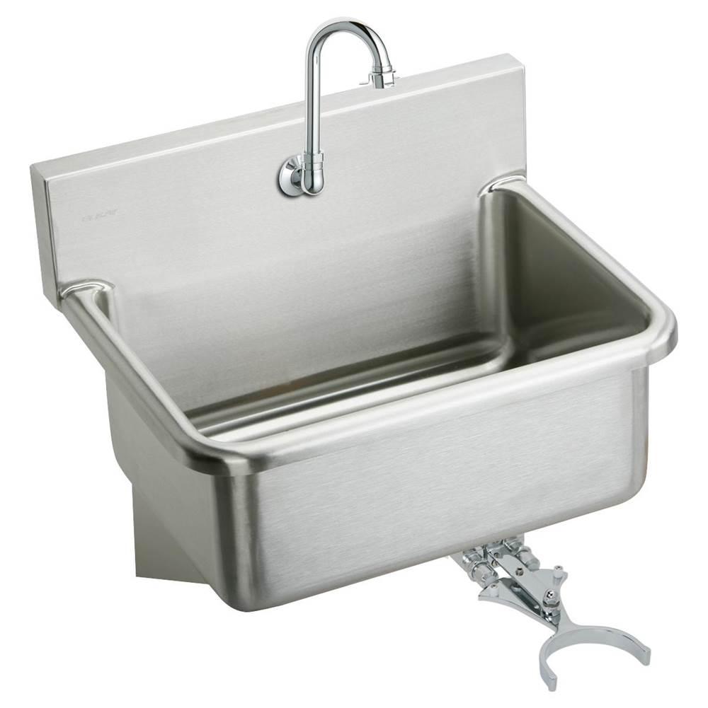 Elkay Ews3120kc Stainless Steel 31 X 19 5 10 1 2 Wall Hung Single Bowl Hand Wash Sink Kit