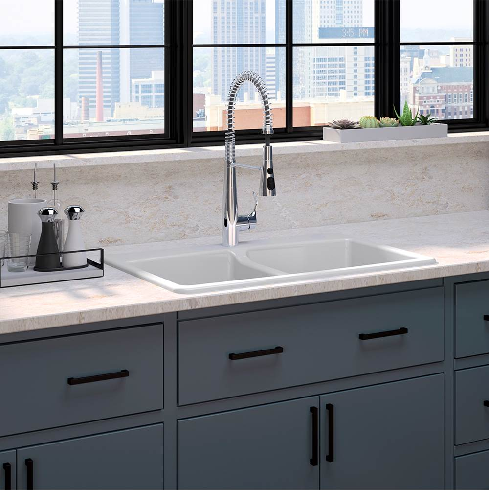 Kohler 22033 Cp 5846 1 0 Simplice Semi Professional Kitchen Faucet Brookfield Top Mount Double Equal Sink